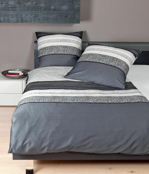 Janine Mako-Satin Bettwäsche 135x200 Pixel Streifen schwarz weiß 87046-08 1B