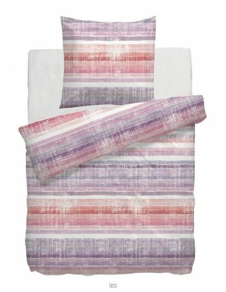 HNL Satin-Bettwäsche Digitaldruck Iza lilac Streifen lila rosa 135x200, 155x220
