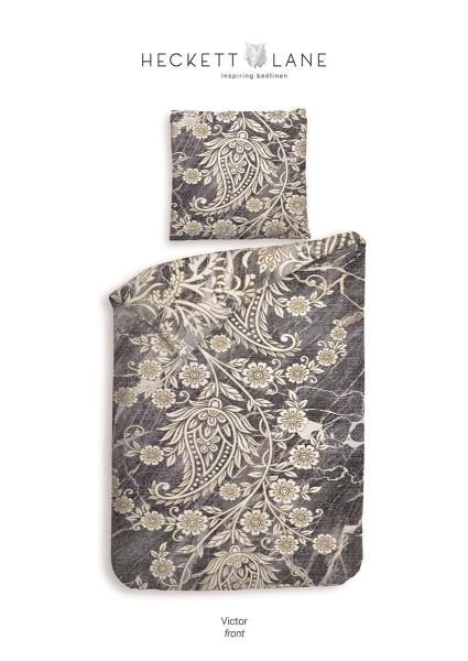 Heckett & Lane Cotton Bettwäsche 135x200 Viktor Marble Grey Blüten Ornamente